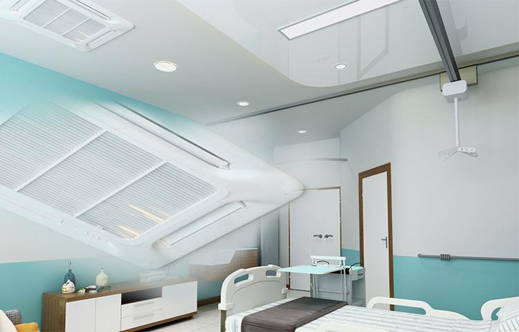 病院館内とエアコンが写っている写真