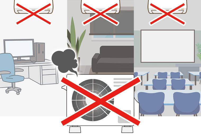 室外機が壊れると全てのエアコンが稼働できない事がわかる画像