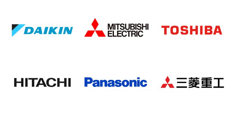 エアコン総本店の業務用エアコン取引メーカーロゴ一覧